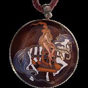 Large Enamel Lady Godiva Pendant on Cord