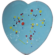 Mid Century Enamel on Copper Heart Brooch in Sky Blue