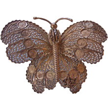 Sterling Silver Filigree Butterfly Brooch Portugal