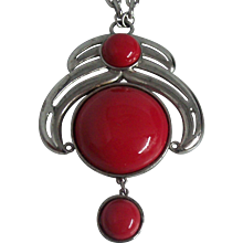 Big, Bold Kramer Red Pendant Necklace Silver tone 1960's