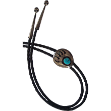 Bear Claw and Turquoise Native American Silver Leather Bolo