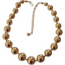 Large Gold tone Ball Bead Necklace Graduated Beads