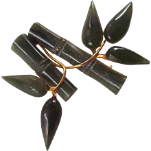 Jade Bamboo and Leaf Gold tone Brooch Jadeite