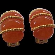 KJL Kenneth Lane Orange Faux Amber Lucite Earrings