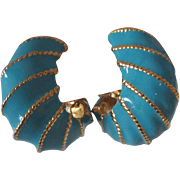 KJL Kenneth Lane Chunky Turquoise Enamel Clip on Earrings Gold tone