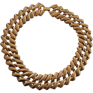 Vintage Monet Chunky Wide Gold tone Necklace