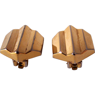 Vintage Christian Dior Clip on Earrings Gold tone