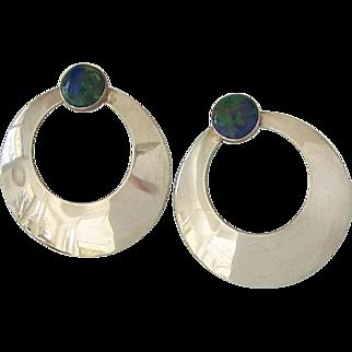 Sterling Silver Azurite Malachite Round Hoop Earrings