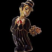 Humorous Enamel Clown Brooch Jomaz Style holding Flowers