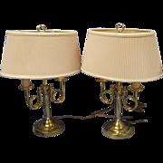 Pr Brass Double Horn Bouillotte Table Lamps