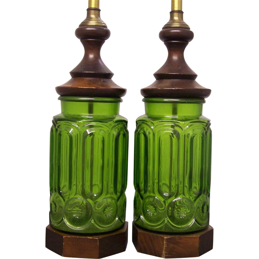 Pr Le Smith Moon And Stars Green Glass Electric Lamps From