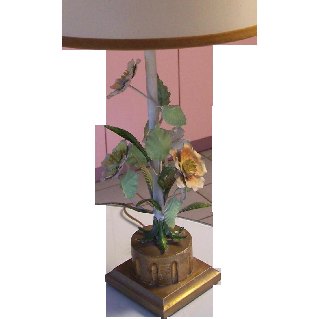 Vintage Italian Florentine Tole Flower Lamp From Modseller