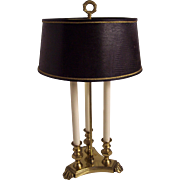 French Bouillotte Style 3 Candle Lamp Hollywood Regency