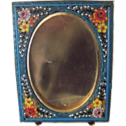 Vintage Italian Floral Mosaic Picture Frame