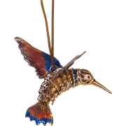 Large Enamel Articulated Hummingbird Chinese Export Pendant Ornament