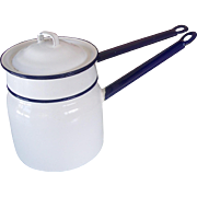 Vintage Enamel/Granite ware Double Boiler Pot Set White Cobalt Blue 1930's-40's