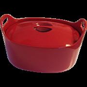 Timo Sarpaneva Red Enamel Cast Iron 4.5 L Casserole Cook Pot Rosenlew Finland