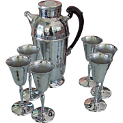 Art DEco Krome Kraft Farber Bros Hammered Chrome Cocktail Set Shaker 6 Goblets