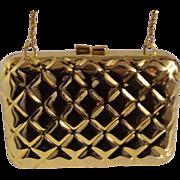 Vintage Gold tone Metal Quilt Design Clutch w/ Chain Strap Walborg