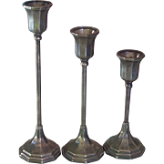 Set of 3 Art Deco Sheffield Silver Co Silver Plate Candlesticks