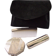 Sterling Silver Art Deco Compact Lipstick Comb Set in Case Majestic