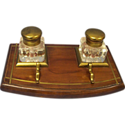 Vintage Wood & Brass Inlaid Double Inkwell English