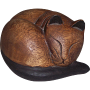 Vintage Wood Carved Sleeping Cat Sculpture