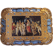 "Pretty Rectangular Italian Florentine Toleware Tray with Print of ""Primavera"""