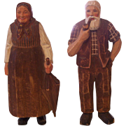 Hand Carved Black Forest Bavarian Folk Couple Wooden Figures