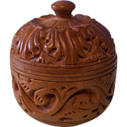 Small Carved Wooden Round Trinket Box