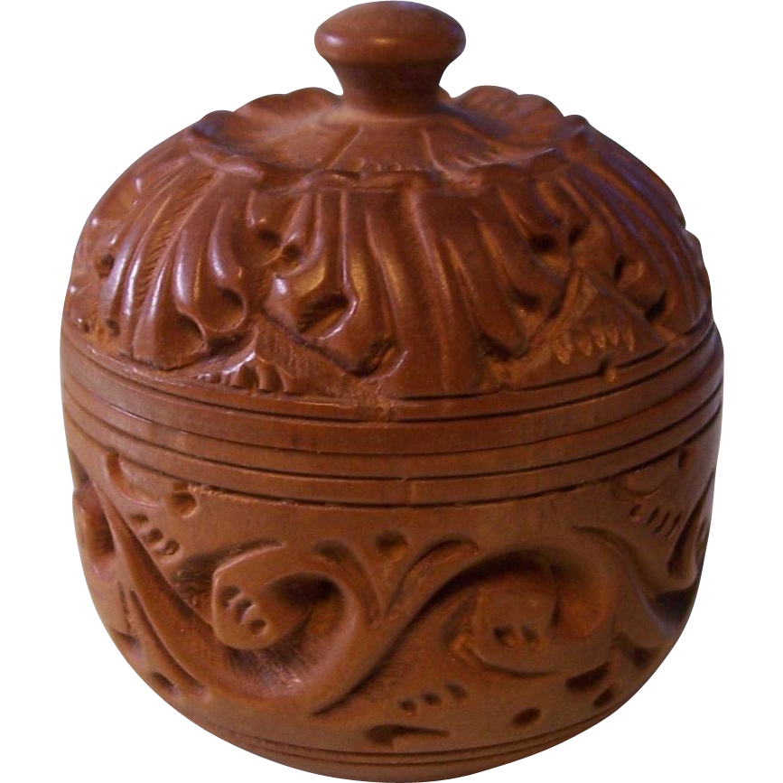 Small carved wooden round trinket box from modseller on for Circular wooden box