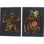 Pair Mid Century Mexican Mixed Metals on Wood Figural Wall Art Plaques Mexico