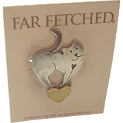 Far Fetched Sterling Silver Mixed Metal Cat on Heart Brooch