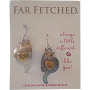 Far Fetched Cat with Heart Earrings Sterling Silver Mixed Metals