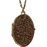 Large Oval Victorian Revival Locket Pendant Necklace Gold tone