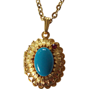 Blue Cabochon Sunflower Locket Pendant Victorian Revival Style Necklace Gold tone
