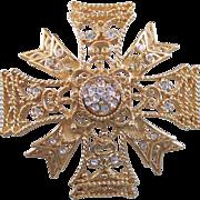 KJL Kenneth Lane Large Maltese Cross Gold tone Brooch Pendant