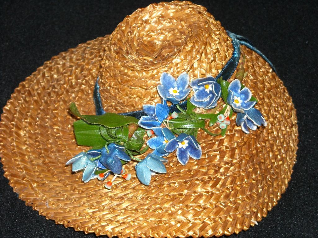 Gorgeous Vintage Straw Doll Hat