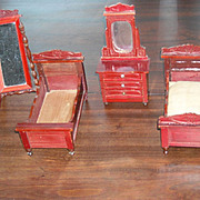 Antique Dollhouse Bedroom Set by Schneegas -- beds, mirror and dresser