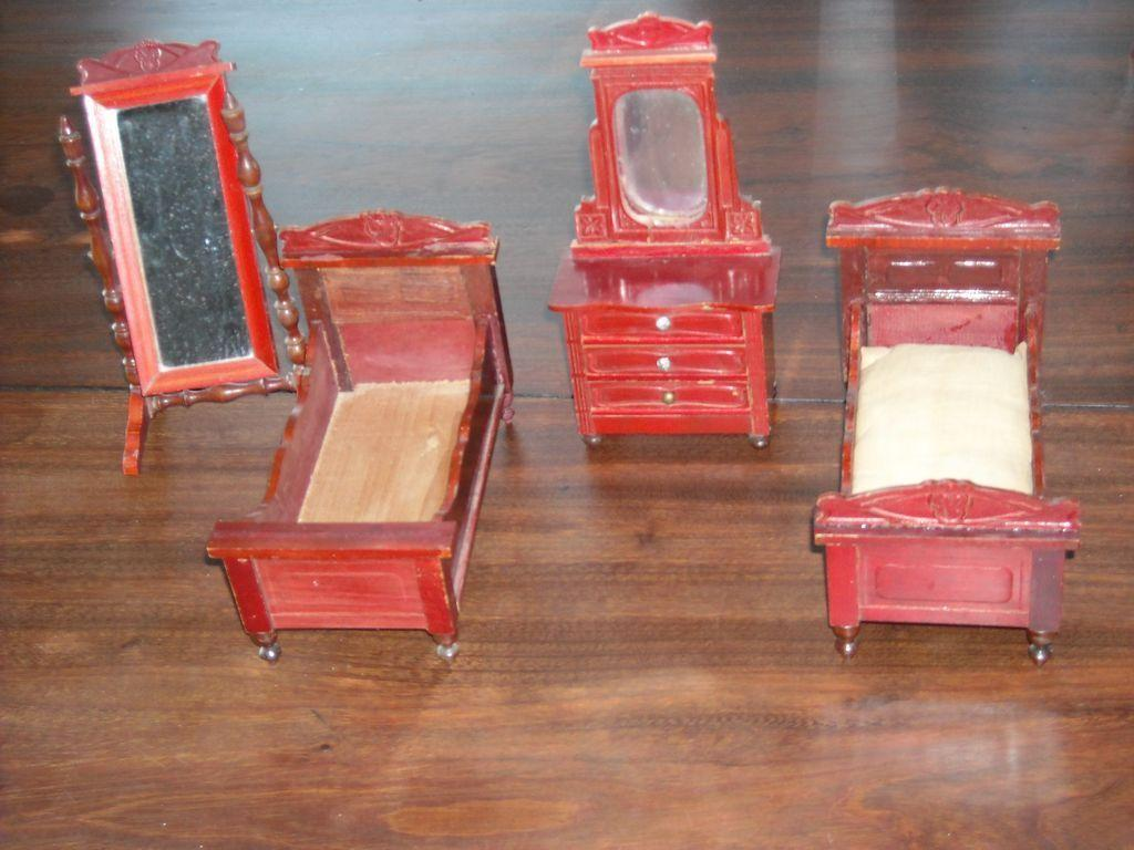 antique dollhouse bedroom set by schneegas beds mirror and dresser