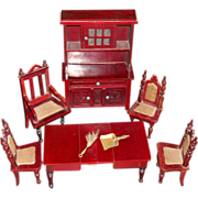 Amazing Antique Schneegas Dollhouse Dining Set