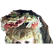 Vintage Pink Flower Doll Hat