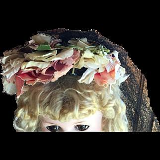 Vintage Pink Flower Doll Hat