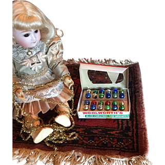 Box of Miniature Vintage Christmas Ornaments/ Balls for your Dolls