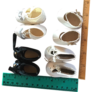 4 Pairs of Old Doll Shoes