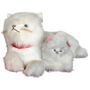 Almost life size Vintage Mama Cat and Kitten made from rabbit fur