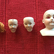 4 Antique Doll's Heads Lot (As Is)