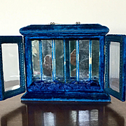 Antique Blue Velvet Perfume or Doll Display Case