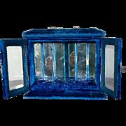Antique Blue Velvet Perfume or Doll Display Case