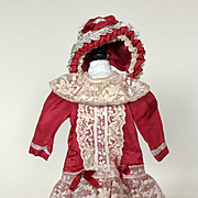 Red Silk Doll Dress and Hat